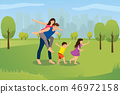 Happy Family Playing in City Park Cartoon Vector 46972158