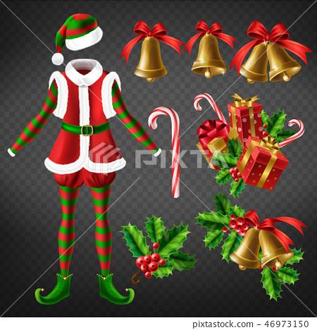 Christmas celebration attributes 3d vector set 46973150