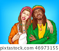 Rastafarian subculture people pop art vector 46973155