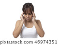 asian young  woman suffering from  headache  46974351