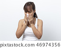 woman sick having allergy and sneezing in tissue  46974356