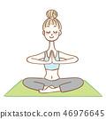 做瑜伽姿勢的婦女 46976645