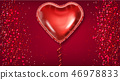 Red balloon heart on glitter background Vector 46978833
