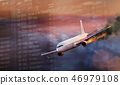 Airplane with engine on fire, concept of aerial disaster. 46979108