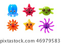 Sea creatures set, cute marine colorful bright glossy animal characters vector Illustration 46979583