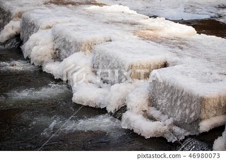 꽁꽁 얼어붙은 강의 돌다리, 겨울 풍경 46980073