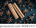 Spicy background. Warm christmas theme. Cinnamon quills, coffee beans and star anise 46981437