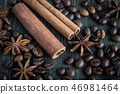 Spicy background. Warm christmas theme. Cinnamon quills, coffee beans and star anise 46981464