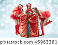 young beautiful dancers posing on studio background 46983381