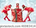 young beautiful dancers posing on studio background 46983414