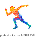 Abstract of a running woman short distance sprinter from splash of watercolors 46984350