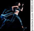beautiful woman runner jogger jogging running isolated black bac 46985314