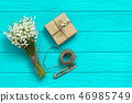 Mother's day. Women's day. Valentine's day, Birthday greeting concept background. top view, flat lay 46985749