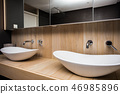 Two modern sink in the bathroom, and big mirror, new empty house 46985896