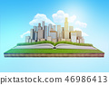 3d rendering of a modern city rising from an open book which lies on a patch of green lawn floating 46986413