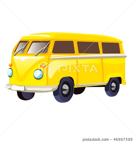 Retro travel yellow van isolated on white background. Vector cartoon close-up illustration. 46987389