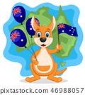 Kangaroo holding balls and waving a flag on the 46988057