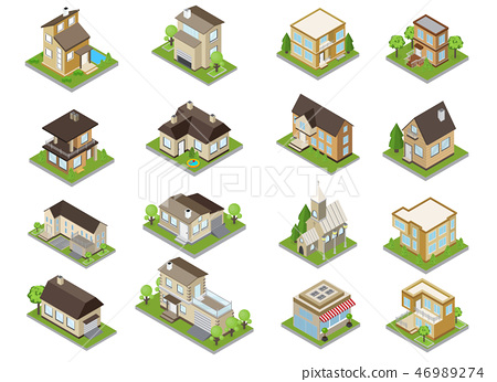 Suburbia Buildings Icons Set 46989274