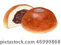 麵包豆醬手拉的水彩 46990868