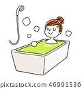 放松在浴的妇女 46991536