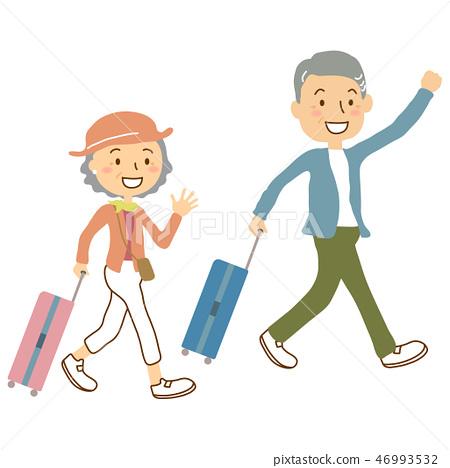 Elderly couple travel suitcase S 46993532