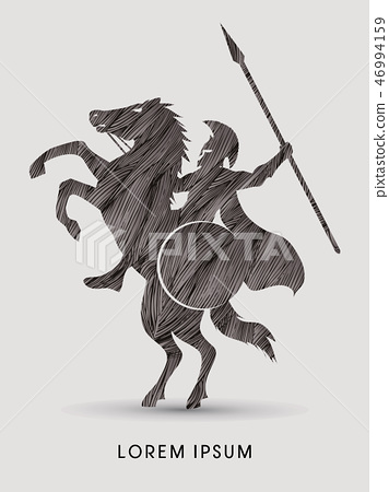 Spartan warrior riders with a spear graphic vector 46994159