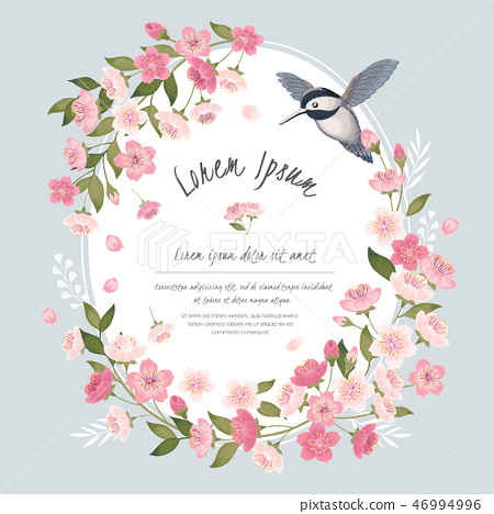 Vector illustration of cherry tree in spring	 46994996