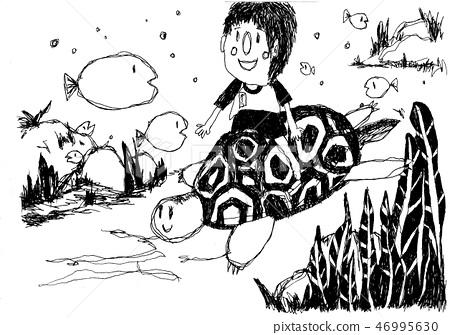 거북이를 타고 산책 46995630