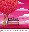 Cartoon chair with big tree and heart shaped leave 46997853