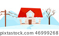 Winter view on small house, tree and electrical power pole. Ice storm. Strong frost. Natural 46999268