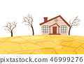 Flat vector scene of drought. Small living house, dry trees and cracked earth. Ecological 46999276