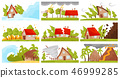 Flat vectoe set of natural disasters. Wildfire, volcanic eruption, avalanche, strong tornado 46999285