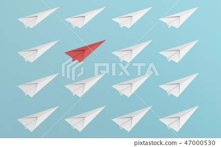 leadership or different concept with red and white paper airplan 47000530