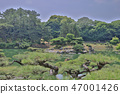 Japanese garden with pond and river,  47001426