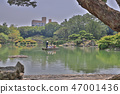 Japanese garden with pond and river, 47001436