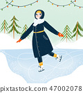 Girl ice skating illustration 47002078