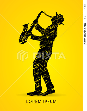 Man playing saxophone graphic vector 47002636
