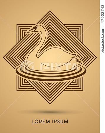 Swan swimming graphic vector 47002742
