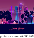 Modern city nightlife cartoon vector banner 47003569