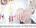 Close up Groom hand and bride. picture of man  47003910