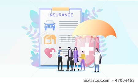 Total Property and Health Insurance Flat Vector 47004465