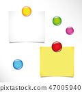two blank sticky notes and colorful push pins on a bulletin board 47005940