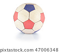 old soccer ball on a white background 47006348