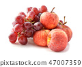ripe red apples and grapes isolated on white 47007359