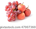 ripe red apples and grapes isolated on white  47007360