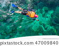 Traveler diving in the sea at Phuket, Thailand. 47009840