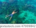 Traveler diving in the sea at Phuket, Thailand. 47009842