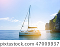 Sailing boat in the sea of Phuket, Thailand. 47009937