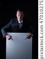 Businessman pointing down blank billboard 47010275