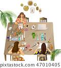 在一张大木桌上画的人 47010405